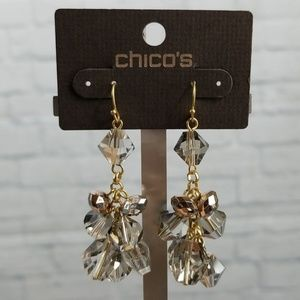 {New} Chico's Crystal Cluster Dangle Earrings